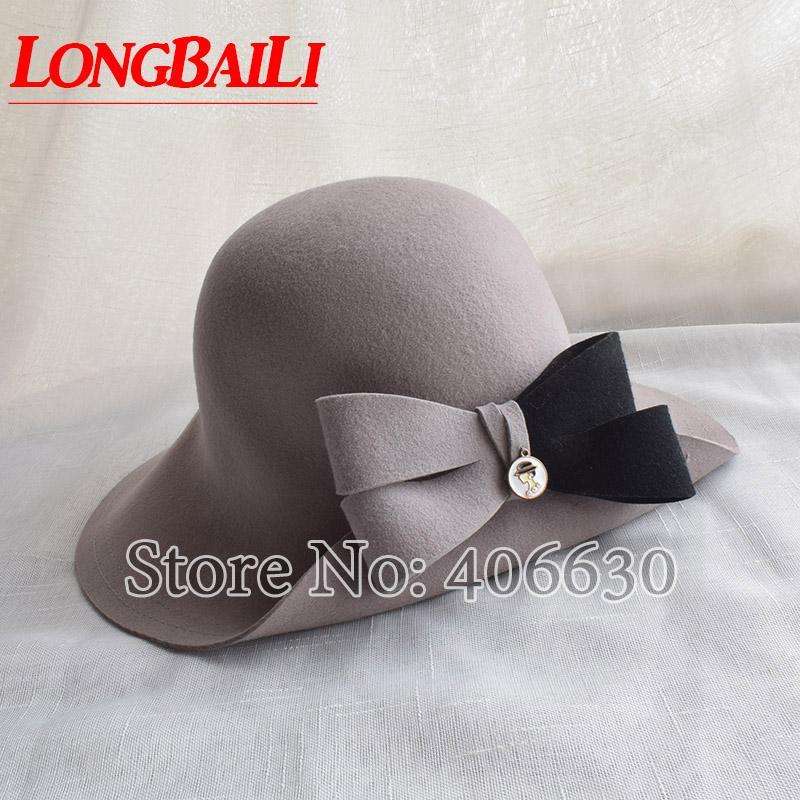 784bb7e875c Winter Elegant Grey Women Bow Wool Felt Fedora Hats Wide Brim Chapeu ...