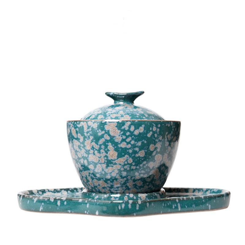 Céramique Bleu Gaiwan Grand Bol à thé Tea Set trésor maison Cover Bowl Retro Tea Cup