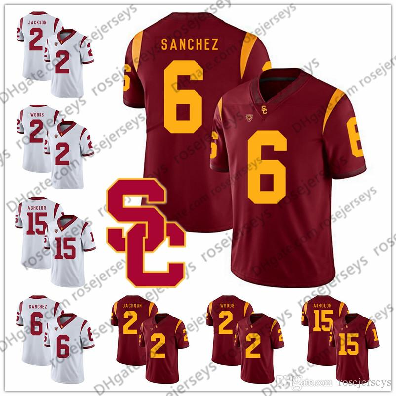 meet 9ab03 cf942 USC Trojans #2 Adoree' Jackson Robert Woods 6 Mark Sanchez 10 Brian Cushing  15 Nelson Agholor 8 Nick Perry Red White Vintage Jersey