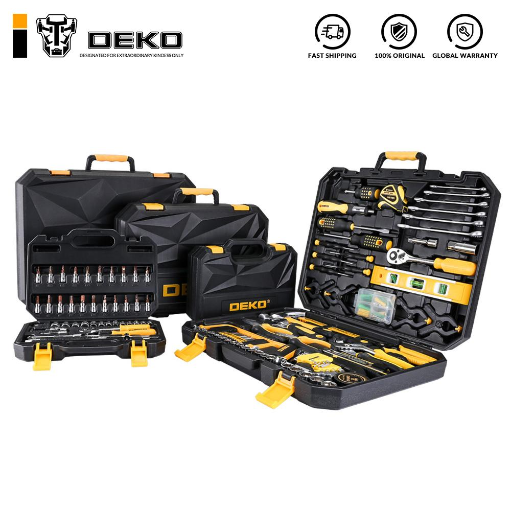 Cheap Sets DEKO Hand Tool Set General Household Hand Tool Kit with Plastic Toolbox Storage Case Socket Wrench Screwdriver Knife