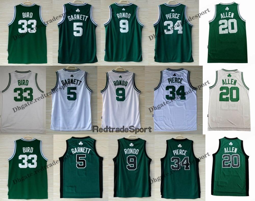 save off a72a1 2deb0 Vintage Mens Boston 5 Kevin Garnett 20 Ray Allen Paul Pierce Larry Bird 33  Rajon Rondo Basketball Jerseys Cheap Stitched Shirt S-XXL