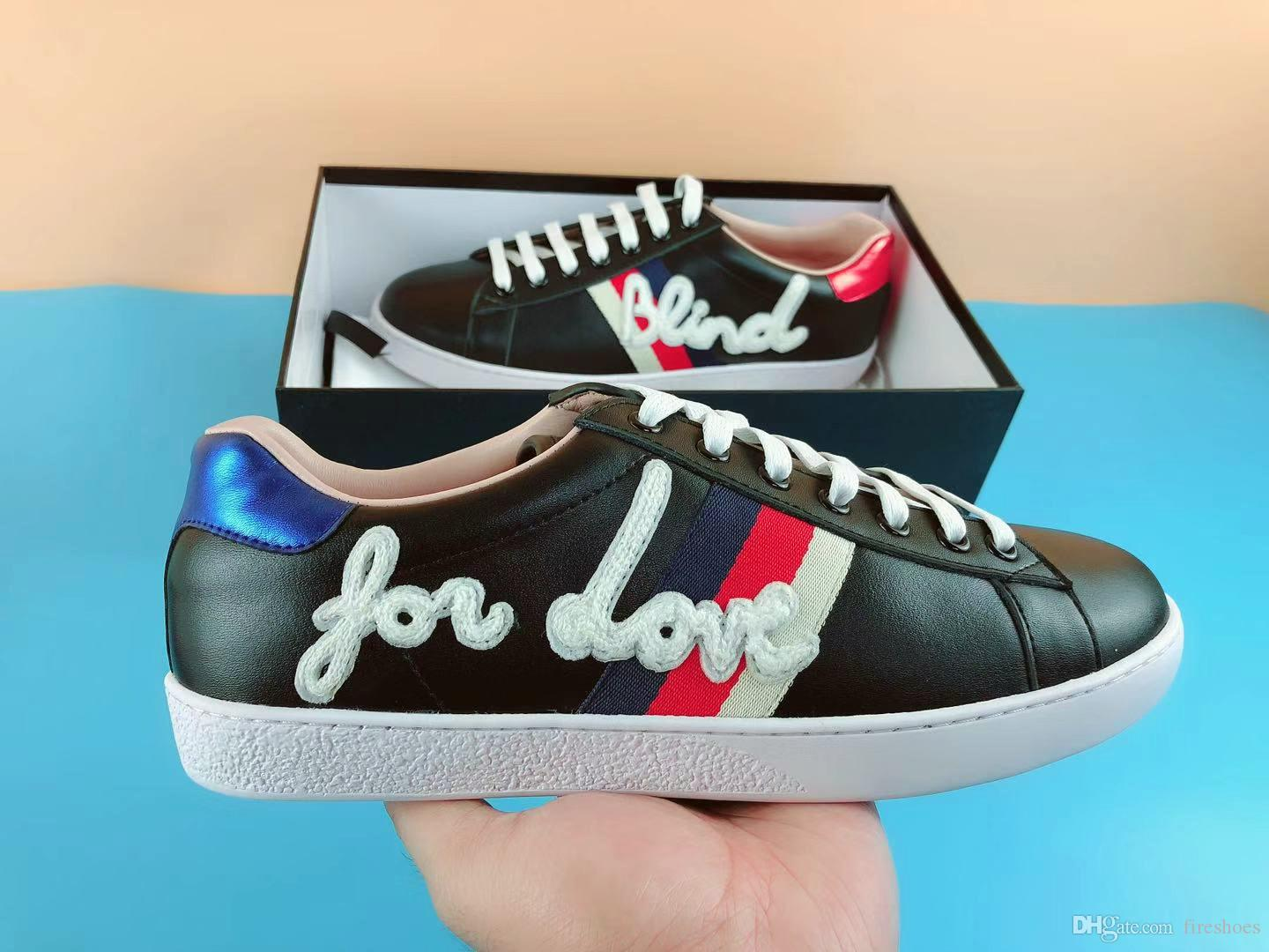 b193a3483511 Fashion Blind For Love Designer Shoes Stripe Genuine Leather Designer  Sneaker Ace Shoes Luxury Brand Mens Women Casual Shoes Size 35 46 Cheap  Shoes For ...