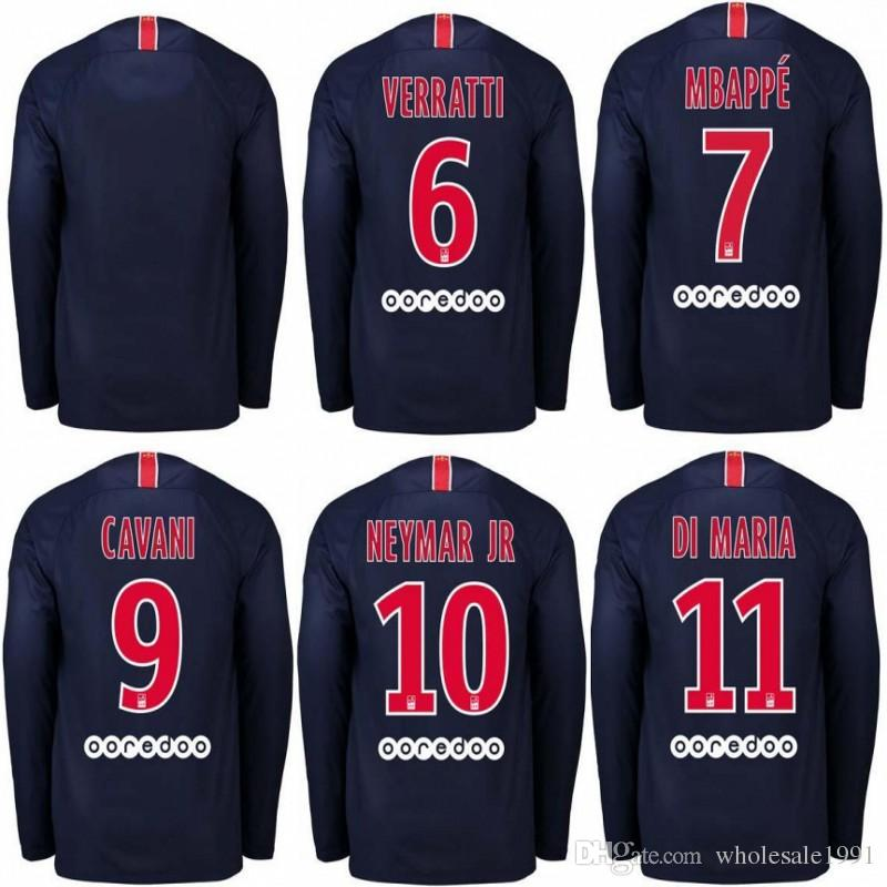 super popular 92eea 14704 18/19 NEYMAR JR PSG Long Sleeve Soccer Jersey #9 CAVANI #7 MBAPPE Uniform  2019 DRAXLER VERRATTI Full Sleeve Football Shirt