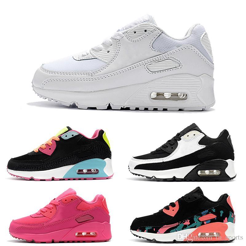 huge discount 5edb5 0b9aa Acheter Nike Air Max 90 Chaussures Pour Enfants Classiques 90 Vt Garçons  Filles Chaussures De Course Noir Rouge Blanc Sports Trainer Cushion Surface  ...