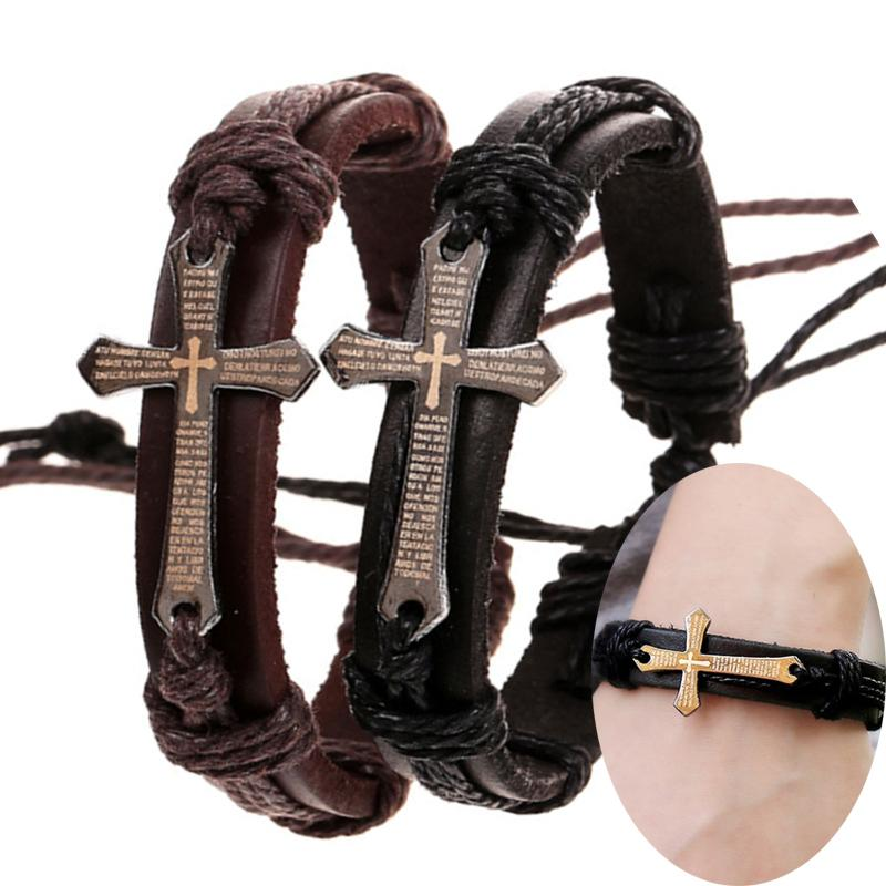 Vintage Mens Scripture Cross Bracelets For Women Bible crucifix Charm Genuine Leather Wrap Bangle Punk Jewelry Gift