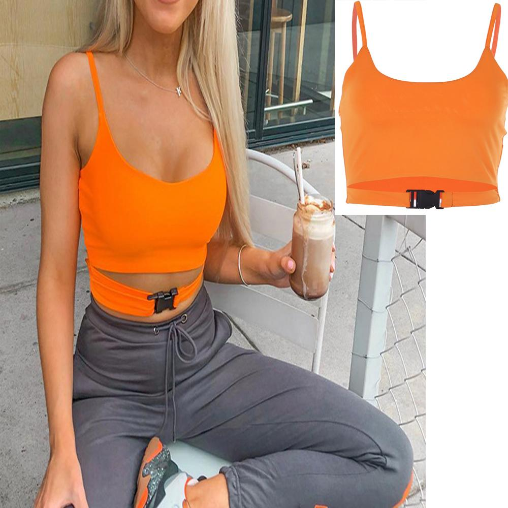 15100895075 Women Fashion Sexy Crop Tops Bag Buckle Short Vest Club Party Wear Solid  Color Camisoles Tank Tops