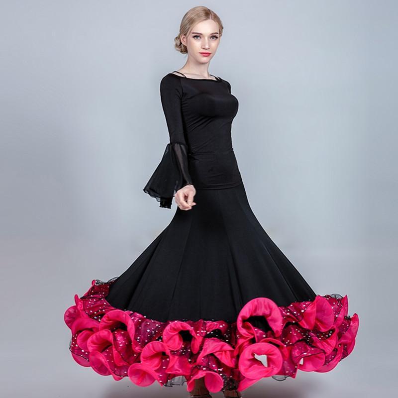 7ff29fdd6 Faldas de baile de mujer Falda larga estándar Falda de flamenco para mujer  Tops de baile de flamenco Vestidos de salón Vestidos de vals Columpio