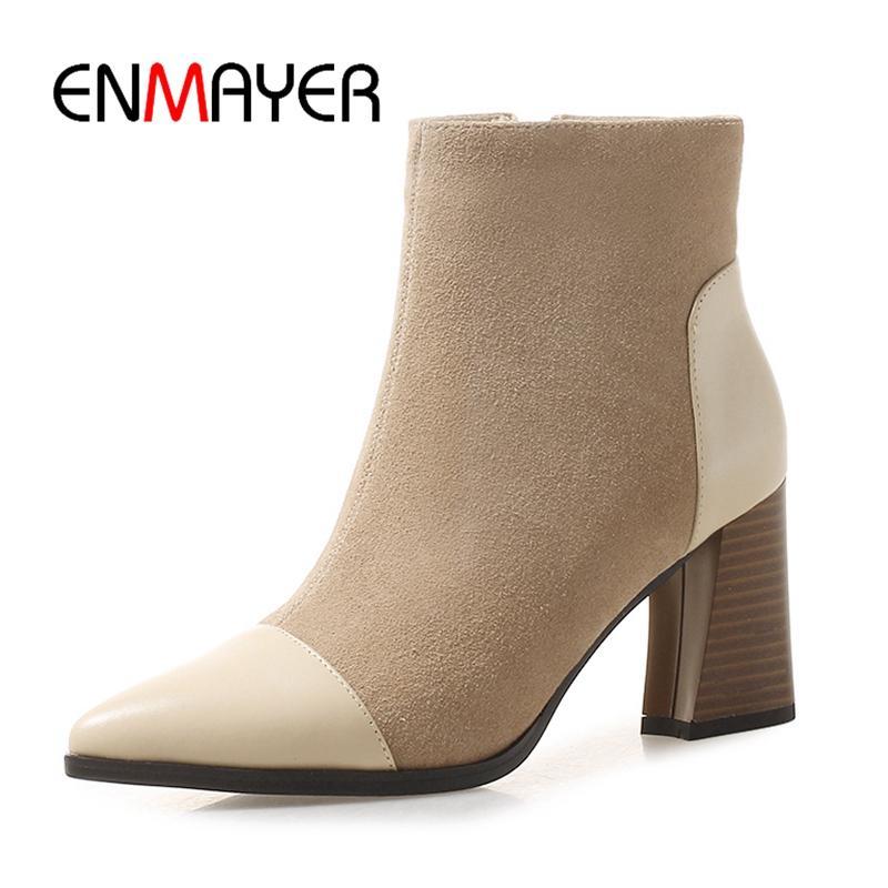 Botas Cuadrado Tacón Zip Mujer Enmayer De Zyl1805 Tamaño 34 Básicos Punta Zapatos 39 Estrecha LGzMVqUSp