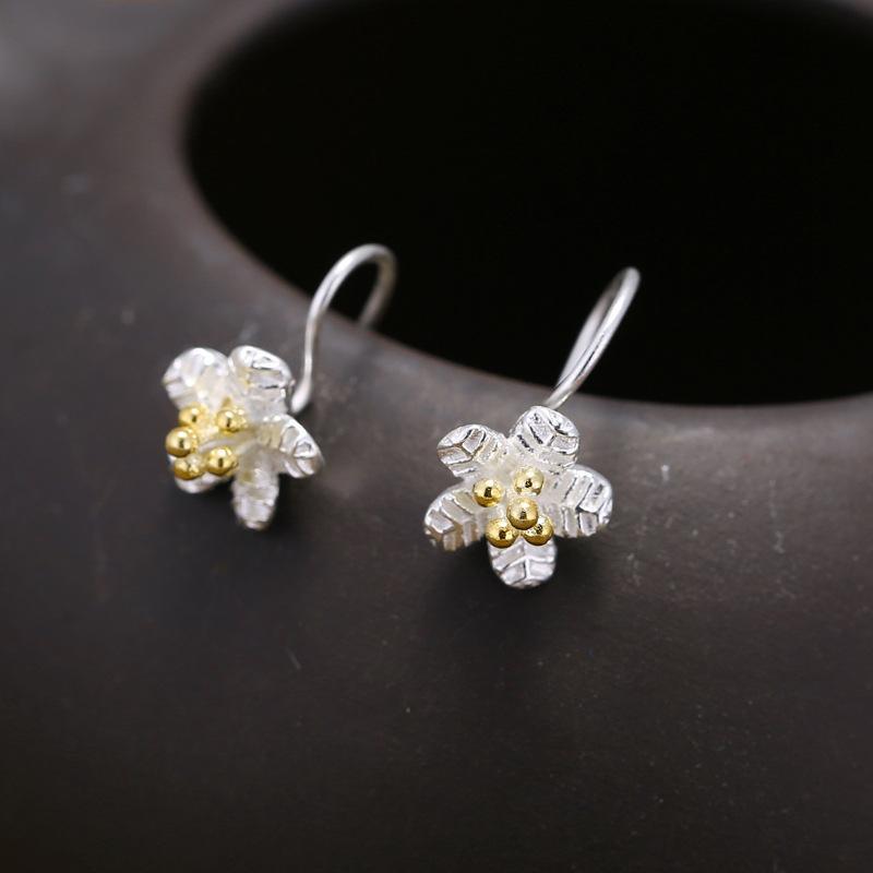94c8fedc7 2019 S925 Sterling Silver Earrings Thailand Craft Fashion Flower ...