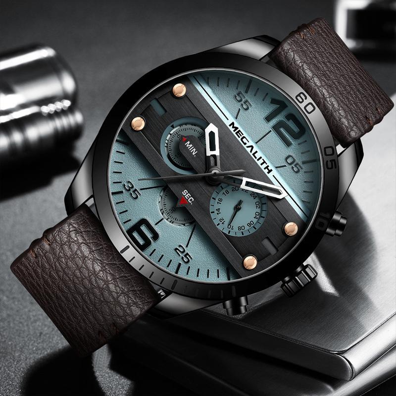 Megalith Fashion Sport Men S Watch Waterproof Multifunction Watch Quartz Leather Strap Men Relogio Masculino
