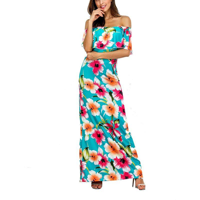 fbdfd80cb6 Fashion Casual Floral Print Maxi Dress Sexy Off Shoulder Ruffles Summer  Long Dresses Female Sleeveless Party Vestidos Short White Dresses Dress  Styles From ...