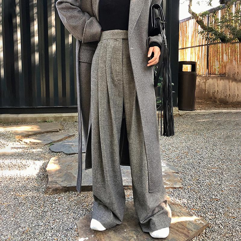 Acquista Gladself Casual Pantaloni Larghi Donna Pantaloni Neri Lunghi A  Vita Alta In Lana Le Donne Moda Coreana Autunno 2018 Vestiti Nuovi A  50.0  Dal ... c7db6b198a3c