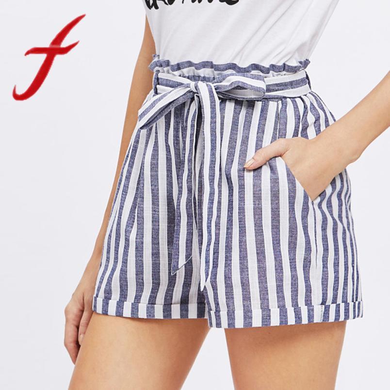 a9d3a963355d Feitong Verano Mujeres Pantalones Cortos Estampados Rayas Cordón Caucásico  Elástico Sporting Shorts Femme Pantalones Cortos Mujer 2019 Nuevo