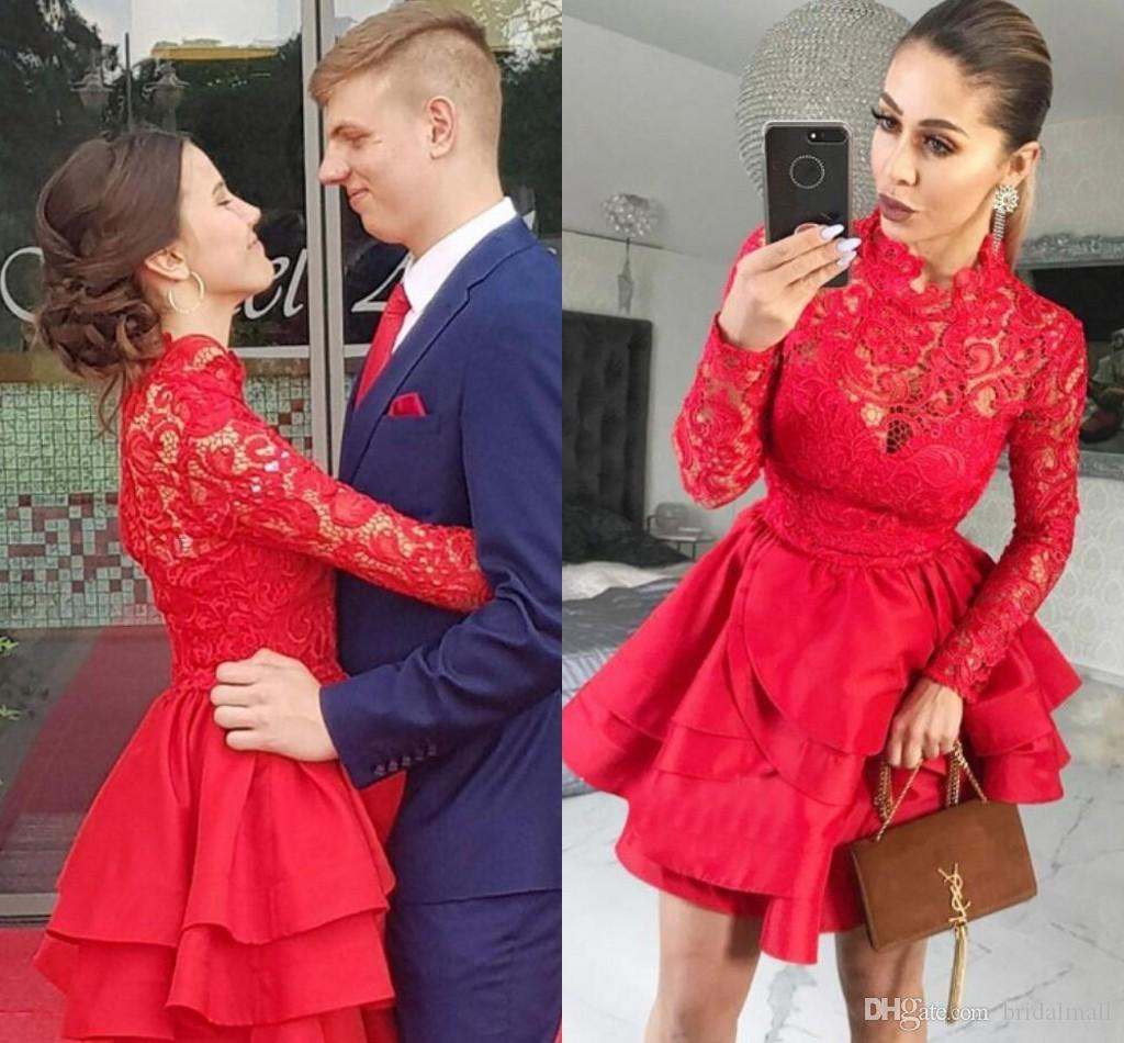 2019 High Neck Red Lace Long Sleeves Short Prom Dresses Tiered Ruffles  Skirts Homecoming Dress Zipper Back Formal Party Gowns Ball Cocktail Prom  Dresses For ... fc405884e91a