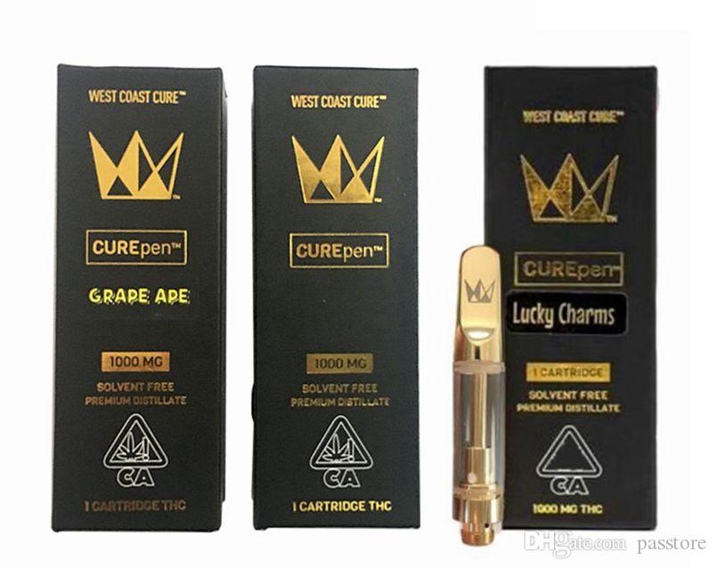 Curepen West Coast Cure Vape Pen Cartridge 0 8ml 1 0ml Gold Th205 Ceramic  Coils Carts with Childproof package free shipping