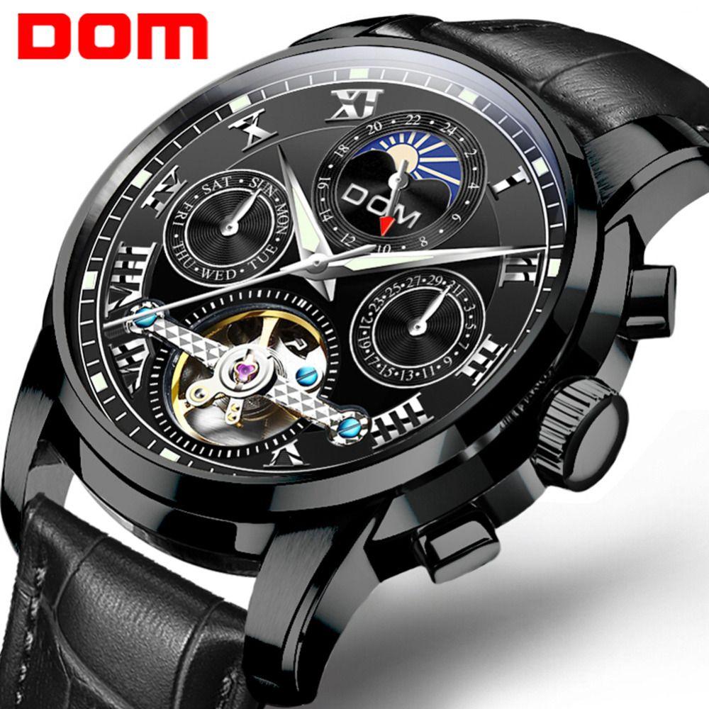 f2a51fec567 Compre Relógio Mecânico DOM Relógios De Pulso Automático Mens Watch Top  Marca De Luxo De Couro Ocasional Homens À Prova D  Água M 75BL 1MH De  Grandliu