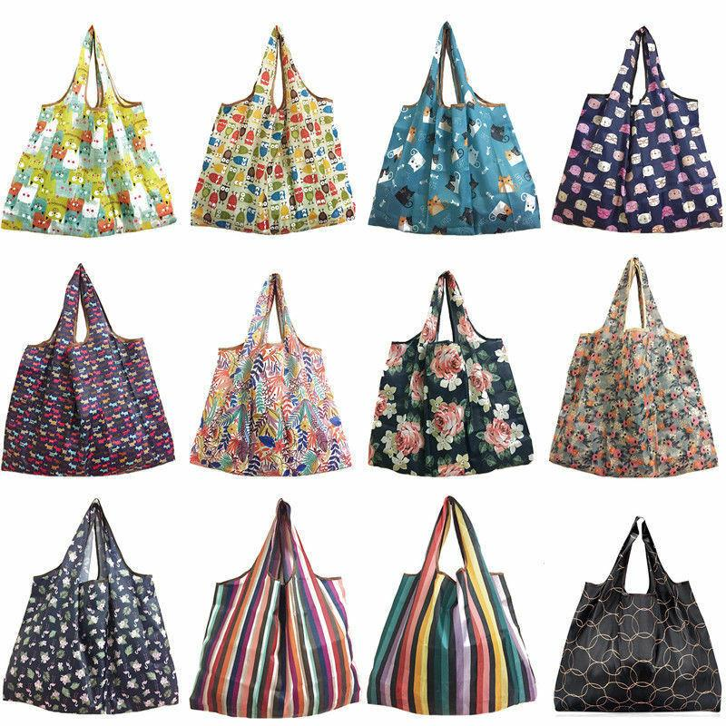 2019 New Women Foldable Recycle Shopping Bag Eco Reusable Shopping Tote Bag Cartoon Floral Fruit Vegetable Grocery Handbags
