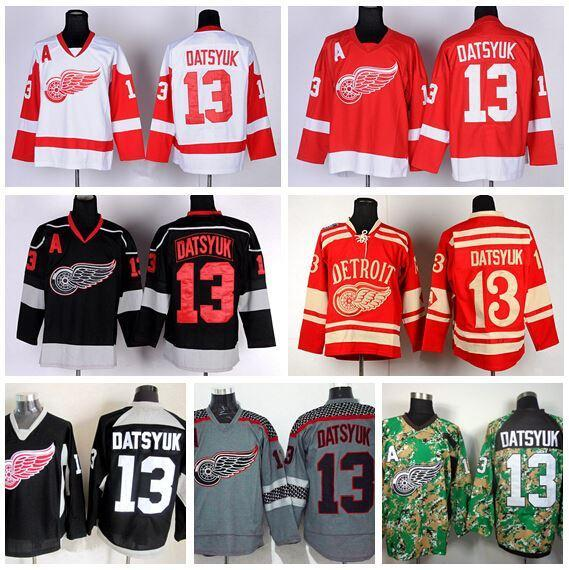 Factory Outlet, Detroit Red Wings Trikots Eishockey 13 Pavel Datsyuk Jersey Winter Classic Home Team Rot Weiß Grau Camo Black Ice beste