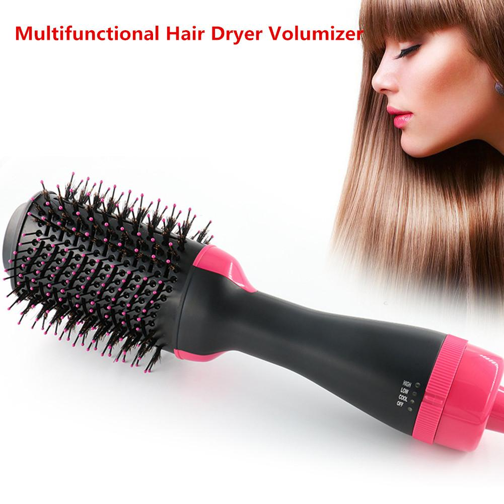 2 In 1 Multifunctional Hair Dryer Volumizer Rotating Hot Air Brush Curling Iron Rotating Hairdryer Comb Styling Tools DropShip