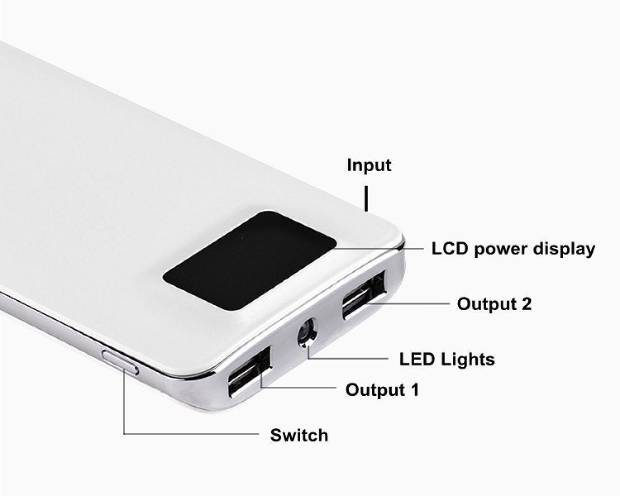 10000mah Energien-Bank-LCD-Bildschirm External Battery Pack Der tragbare Telefon Ladegerät externe Stromversorgung