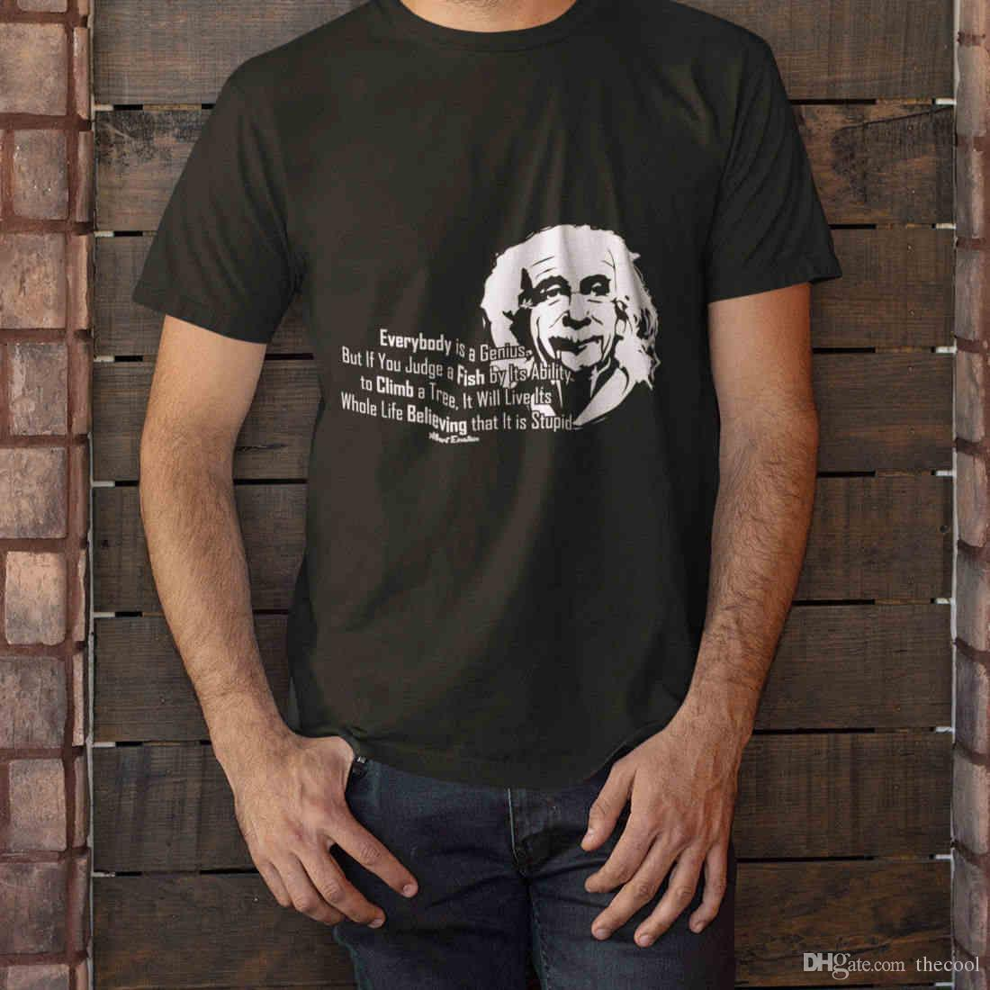 Albert Einstein Quotes Everybody Is A Genius Black Mens T Shirt