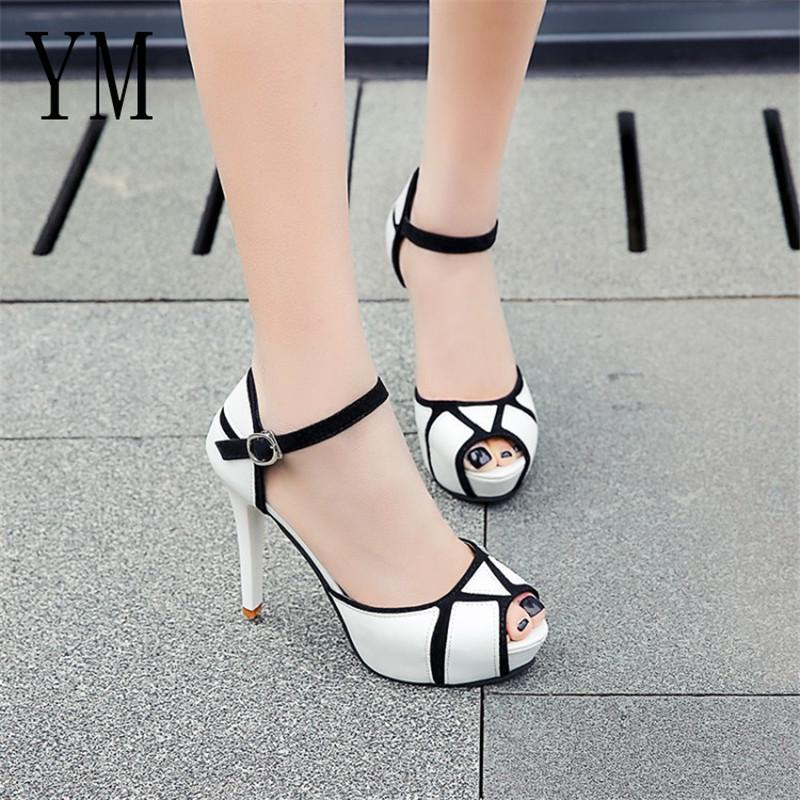 Designer Dress Shoes Hot Summer Hollow Buckle Women's European And American Fight Color Fish Mouth Fine With High Heels Young Daily 41