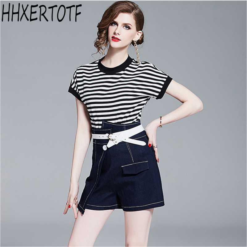 4f8d5ea52 2019 Moda verano mujer manga corta raya camiseta Top Tees pantalones cortos  irregulares con cinturón de dos piezas de niña conjunto de pantalón ...
