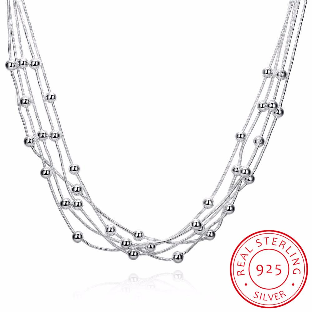 LEKANI Women Fine Jewelry 925 sterling silver 18'' Five lines beads snake chain Charm Balls Multilayer Necklaces collares