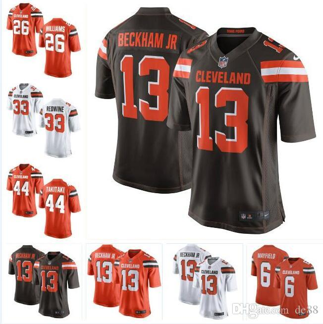 huge selection of 03249 c9d12 Baker Mayfield Odell Beckham Jr Browns Jersey Sione Takitaki Sheldrick  Redwine Donnie Lewis custom american football jerseys new 4xl 6xl