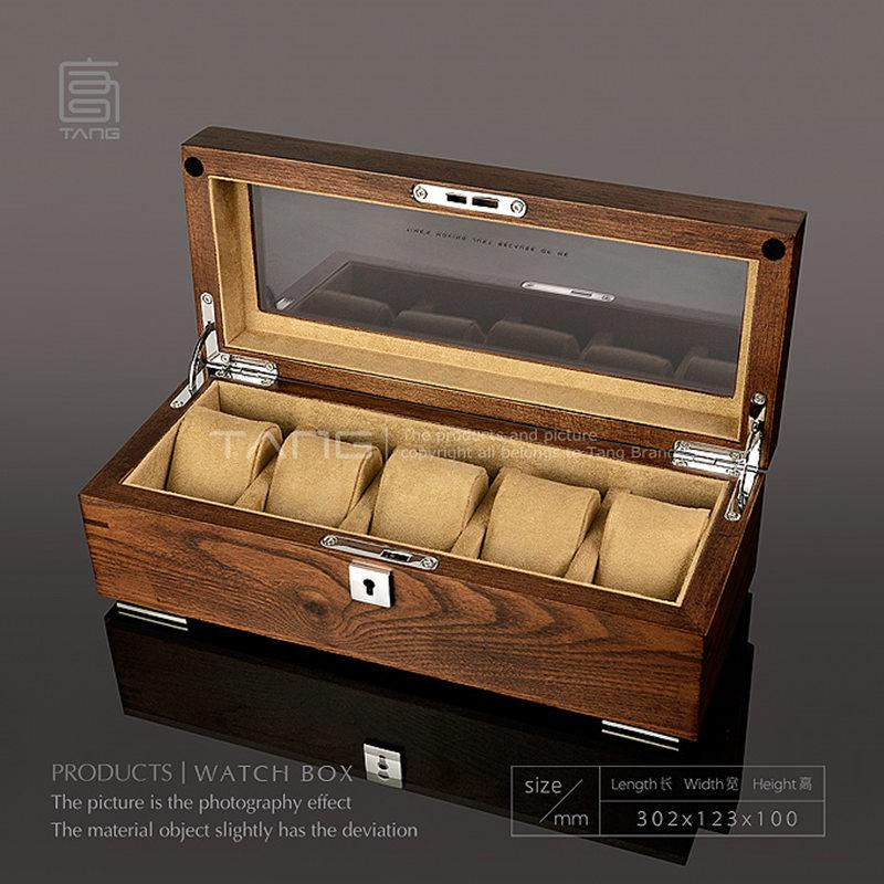 Tang 5 Slots Watch Storage Cases Box Men Brown Wooden Display Boxes Case With Lock Women Jewelry Box With Window B058