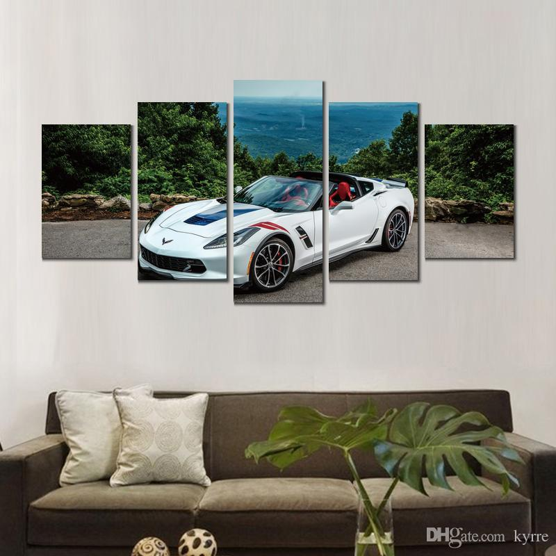 Stupendous 5 Sets Chevrolet Corvette Cabriolet Canvas Printed Painting Wall Pictures For Living Room Decor No Frame Download Free Architecture Designs Scobabritishbridgeorg