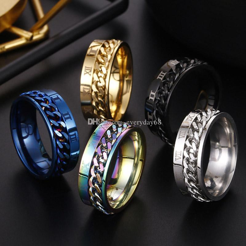 Roman Numerals engagement Rings Spinner Chain Ring Stainless Steel Chain Wholesale Mens Jewelry luxury designer jewelry women rings