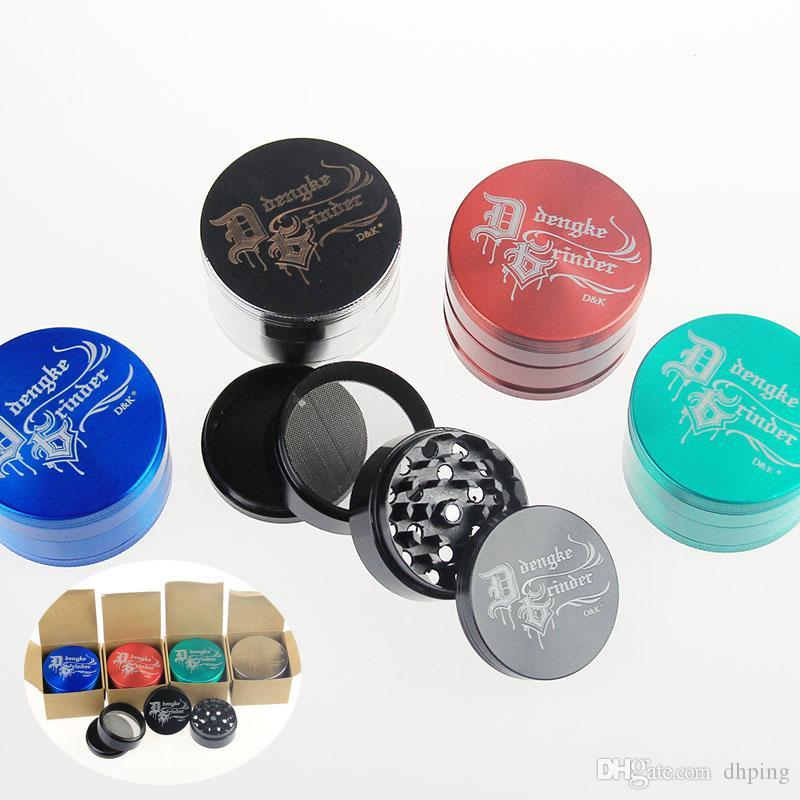 High quality D&k grinder Herb Metal Grinder 4 Parts Hard Top Tobacco Grinders Diameter 60mm 50mm 40mm Mix Colors DHL Free