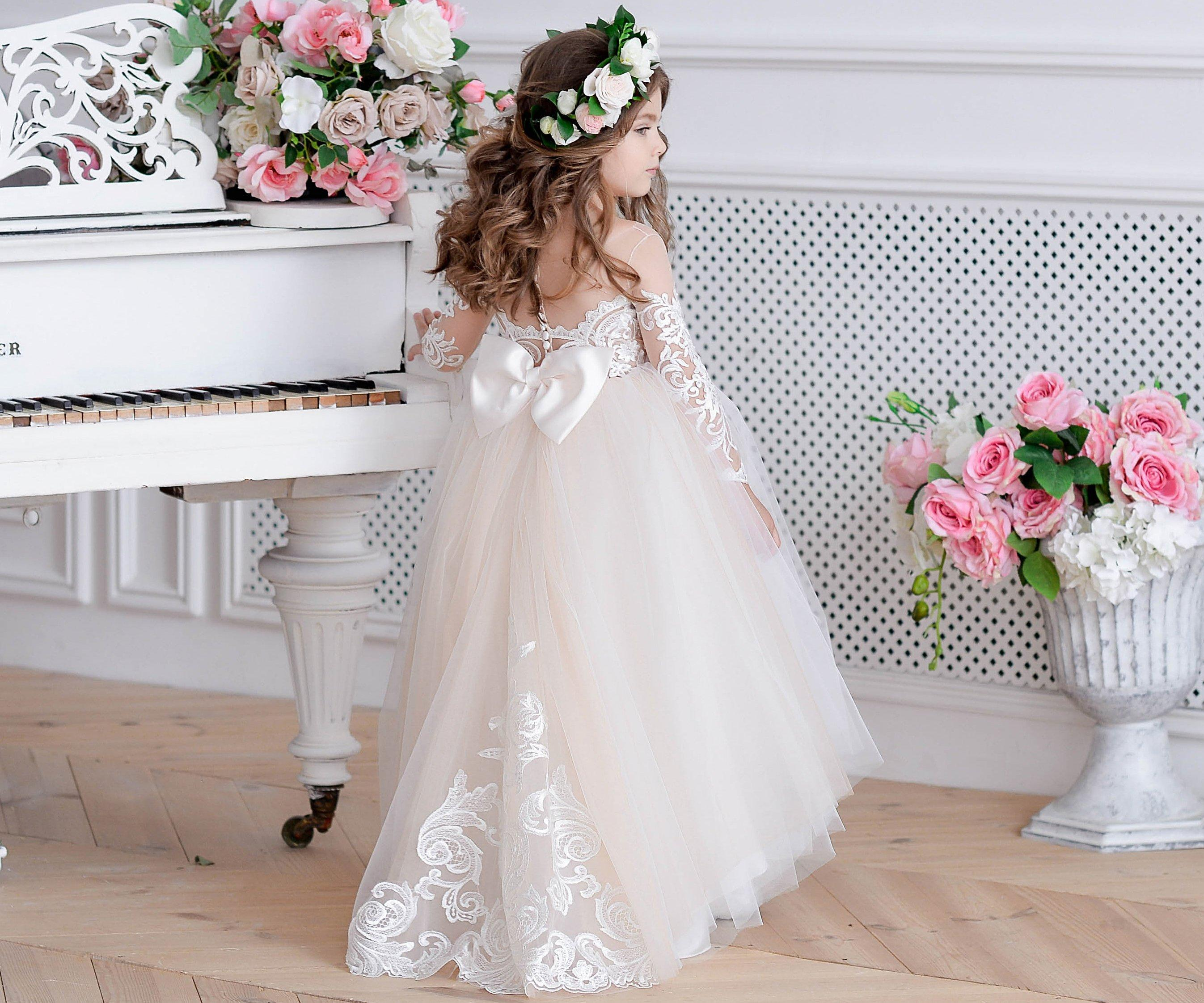 525d14e3 White Ivory Champagne Flower Girl Dresses Tulle Toddler Lace Champagne  Bridesmaid Baby Special Wedding Formal Occasion Custom Size Baby Pink Flower  Girl ...