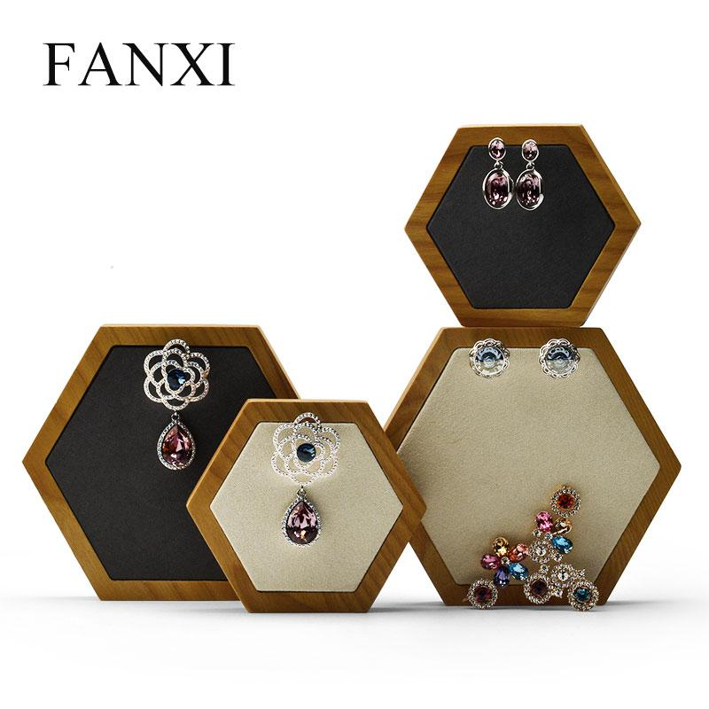 FANXI 2 Pieces of Rhombus Jewelry display stand with microfiber for exhibition Necklace Earrings Display Holder Bracelet Props