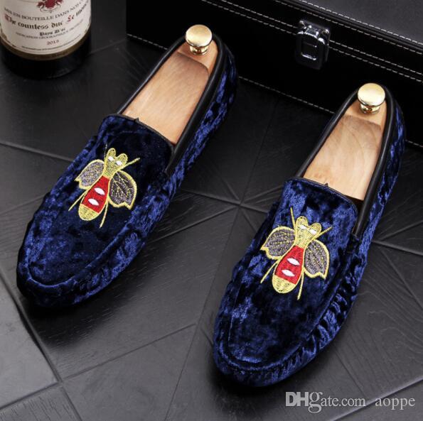 2019 Business Männer Fahren Schuhe Wildleder Stickerei Hochzeit Kleid Schuhe Set Schnecke Luxus Marke Formale Tragen Britische Große Größe 6,5 9 # 264