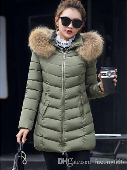 379ed865ce6e 2019 2018 Casual Women Winter Down Jacket Slim Long Cotton Padded Faux Fur  Collar Hooded Coat Parka Lady Plus Size Jacket From Fucong666