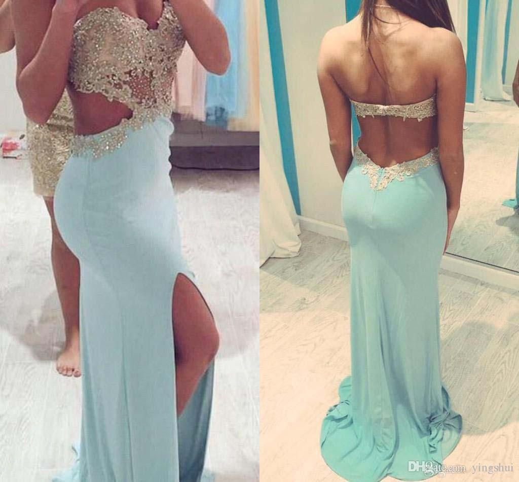 Prom Dresses with Slit Side Cut Out Sweetheart Sexy Party Dresses Beaded Appliques Backless Dresses Party Evening Gowns