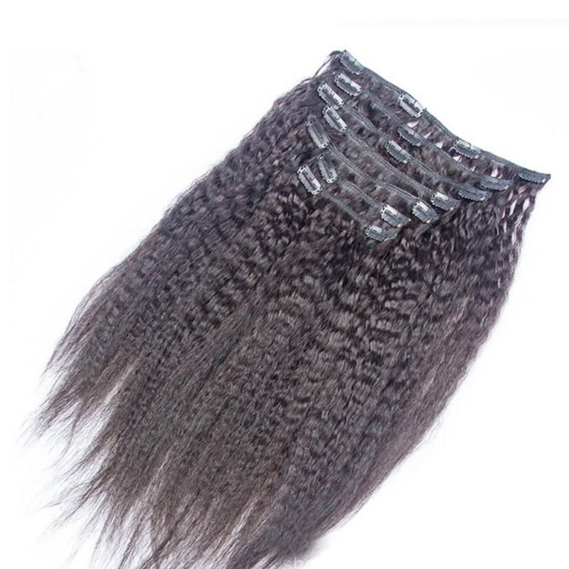 Cheap 100% Human Hair Clip In Remy Extensions 8pcs/set 100g Kinky Straight Indian Clip In Hair Extensions 4set/lot Wholesale