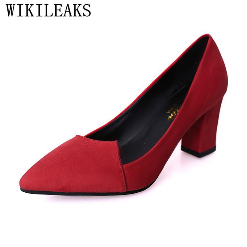 993998e141 Acheter Chaussures Habillées Rouge Sexy Talons Hauts Noir Escarpins Femmes  Talon Haut Talon Carré Femme Pointu Toe En Daim En Cuir Dames De Mariage De  ...