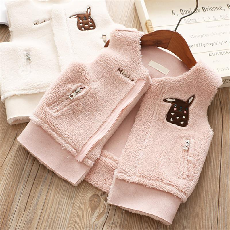 0-4 year baby girl clothing autumn winter Solid cartoon kid children girl clothing jacket outerwear wais coat baby girl vest