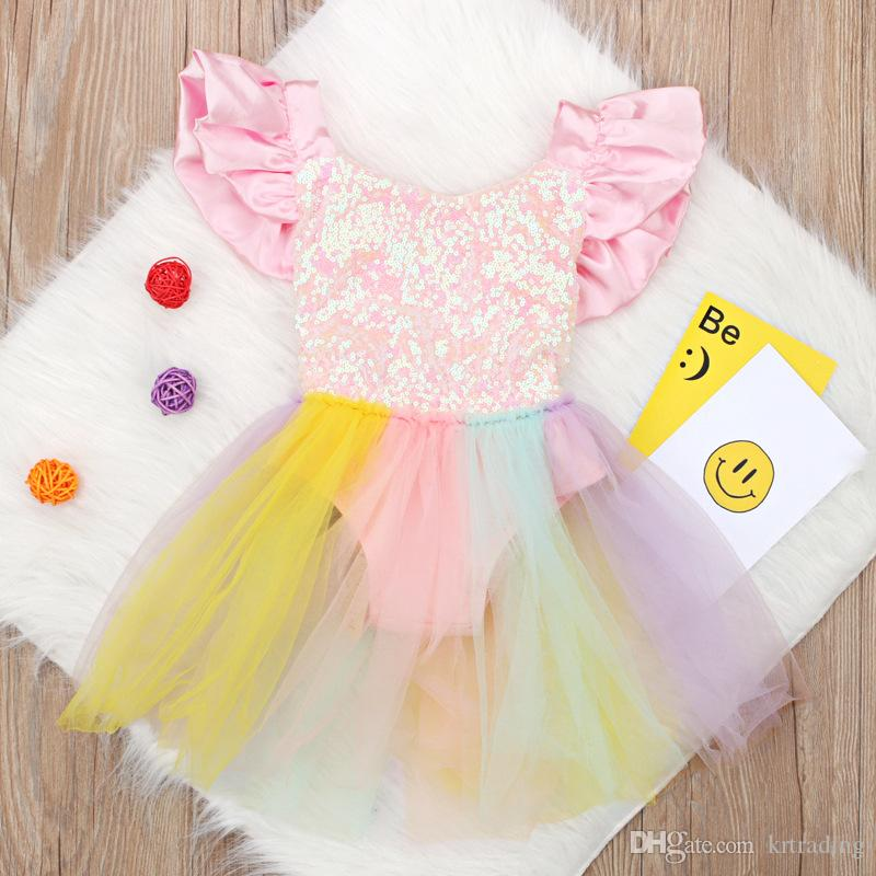 d00a786e6001f Baby Girls Rainbow lace Romper Dress Cute sequins Backless suspender skirt  for 0-2T toddlers summer clothing performance party