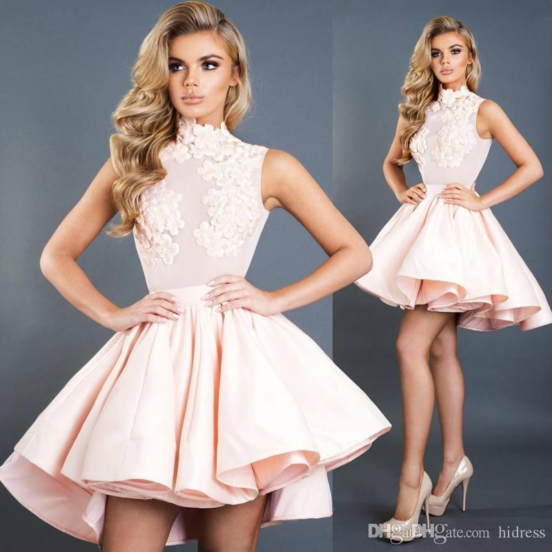 High Low Homecoming Dresses For Juniors High Neck A-Line Short Prom Gowns Satin Cheap Appliques Plus Size Cocktail Dress Sweet 16 Dresses