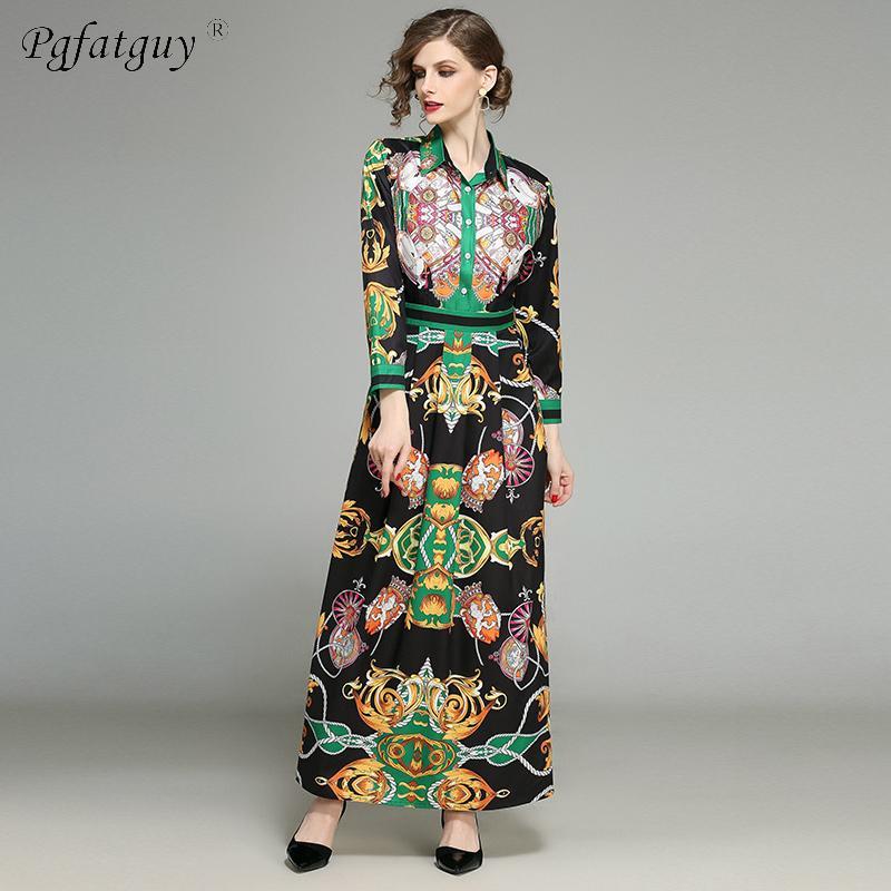 f683e874983e7 Satın Al 2019 Kadınlar Yaz Elbise Çiçek Baskılı Uzun Kollu Casual Elbise  Gömlek Yaka Pileli Pamuk Vintage Elbiseler Vestidos Bornozlar, $27.57    DHgate.