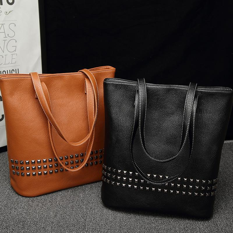 b42f5fa319f2 Designer Luxury Leather Bucket Bag Women Metal Rivets HandBags Ladies  Shoulder Bags Female Casual Totes 2019 Retro Handbag Bolsa Feminina  Designer Bag Women ...