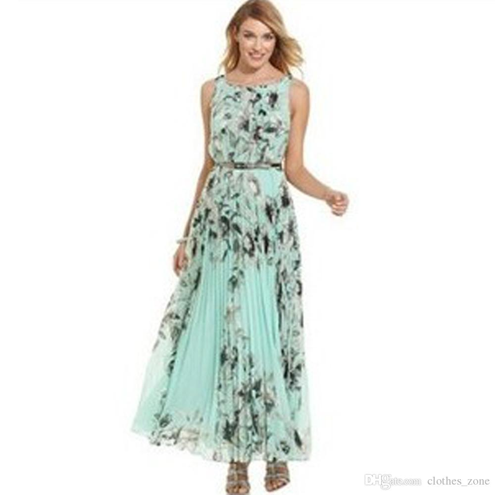 4b354bd5888 Summer Dresses For Women Sky Blue Floral Print With Waist Belt Prom Evening  Party Shirred Maxi Dress NZ 2019 From Clothes zone