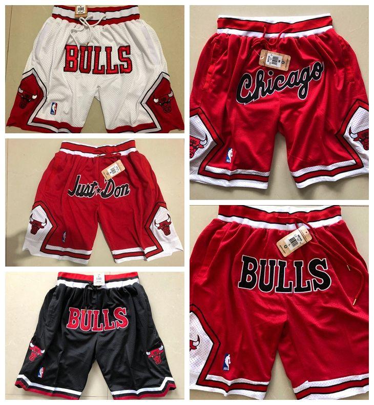 online retailer bdeb6 1c281 Chicago CHI Bulls 2018/19 Icon JUST DON Edition Retro sports pants Swingman  Basketball Shorts jersey