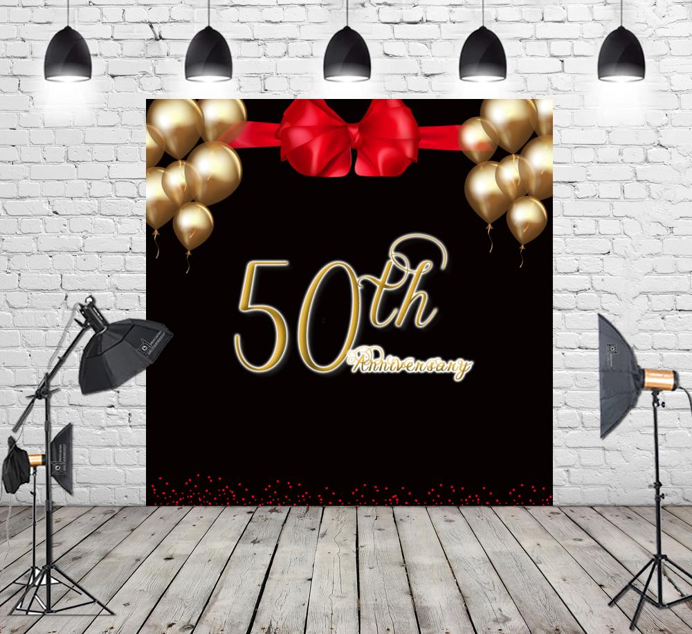 2019 Gold And Black Photo Studio Booth Background Happy 50th Birthday Party Decorations Banner Backdrops For Photography SM 078 From Knite08