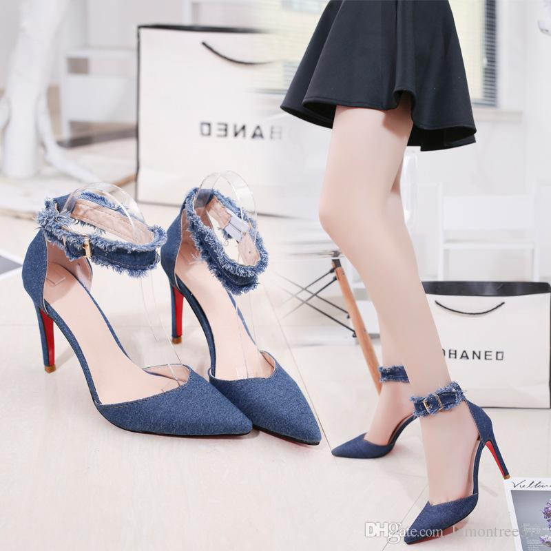 6cae07c228d Women Sexy Ankle Strap Stiletto High Heels Denim Sandals Lady Tassel Party  Dress Shoes Strappy Pumps Open Toe Sandal Pink Shoes Salt Water Sandals  From ...