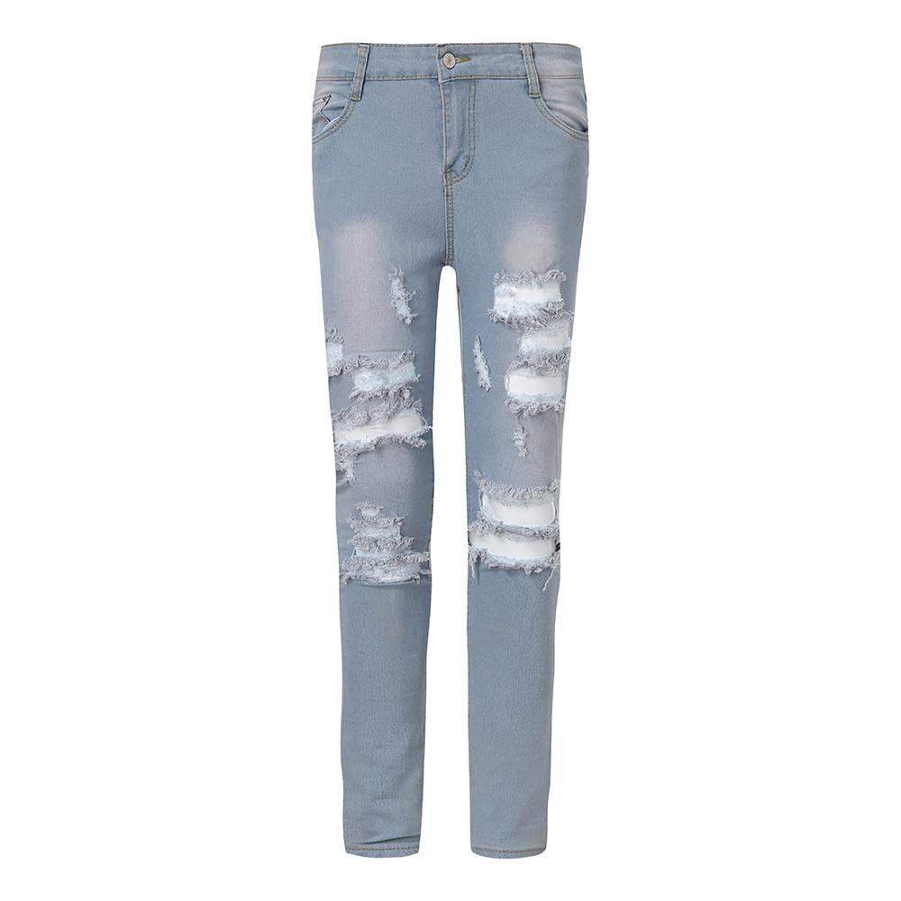 4f2bf544219c Acquista Novità Jeans 2019 Jeans A Vita Alta Elasticizzati Pantaloni A  Matita Tagliati Buco Donne Pantaloni Skinny Denim Pantaloni In Cotone  Taglia Grande ...